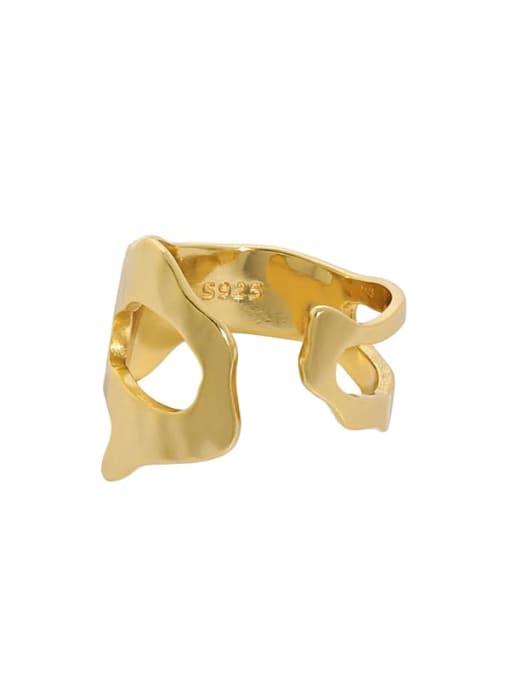 18K gold [14 adjustable] 925 Sterling Silver Hollow Irregular Vintage Band Ring